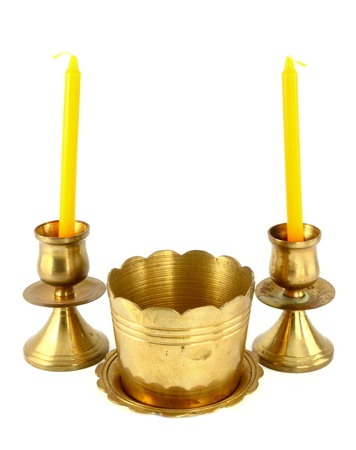 candle holder: candle holder and Incense burner on white background