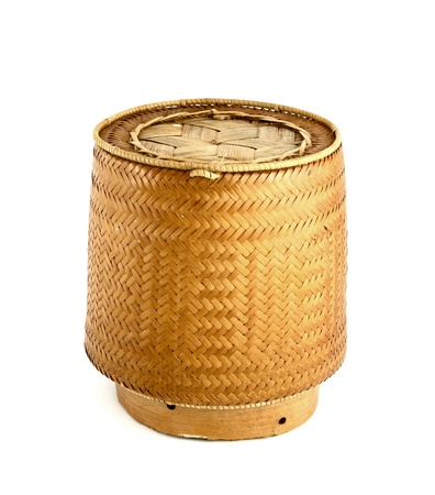 a bamboo wooden old style box for sticky rice photo