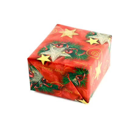 Christmas gift box on white background photo