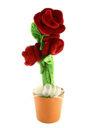 Rose made from wool fabric on white background photo