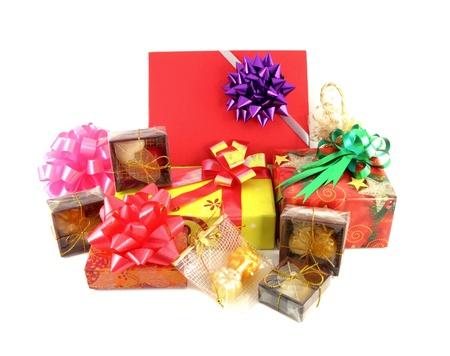 gift box set and ribbin bow on white background photo