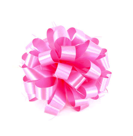 Pink gift bow on white background photo