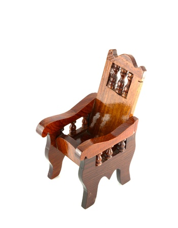 antique chair: Ancient wooden chair on white background