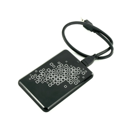 Portable external HDD hard disk drive with USB cable on white background photo