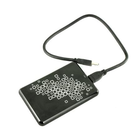 disco duro: Disco duro externo port�til unidad de disco duro con el cable USB en el fondo blanco