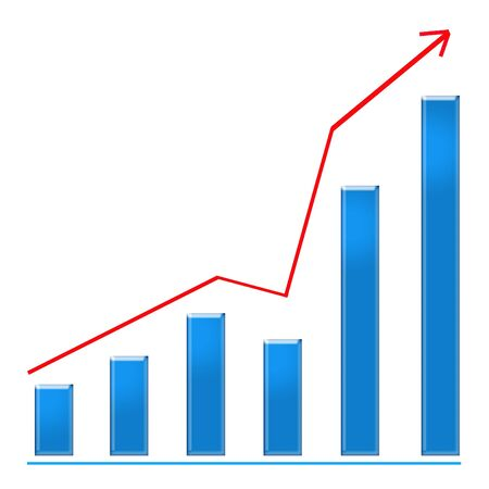 Growing blue bar chart and red rising arrow photo