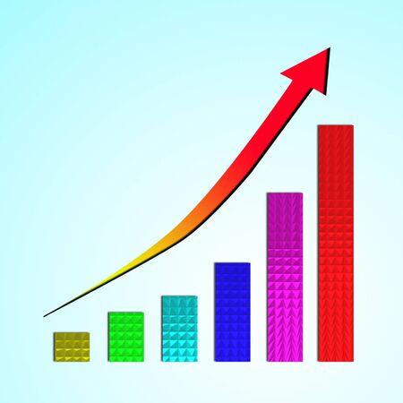 Growing bar chart and  rising arrow photo