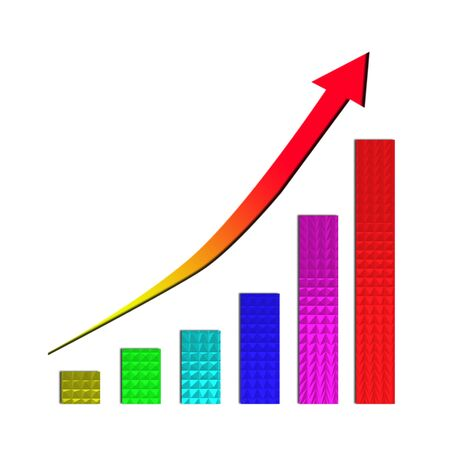 Growing bar chart and  rising arrow on white background Stock Photo - 11984117