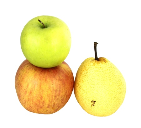 apple and nashi pear on white background photo