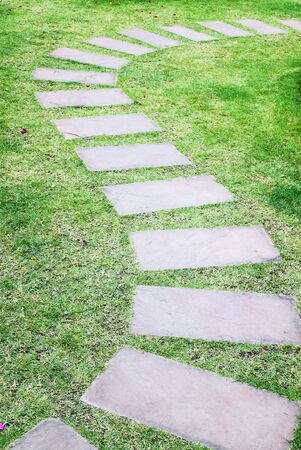Stone walkway in the garden photo