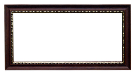 Gold and wood frame on white background photo