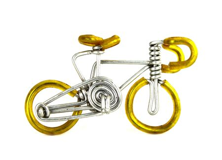 craft bicycle on white background (made from wire) photo