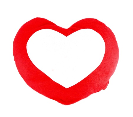 Soft red heart pillow blank for text on white background Stock Photo - 12359311