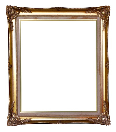 old golden frame isolated on white photo