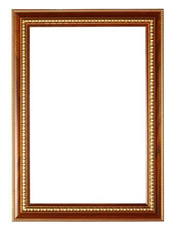 marco madera: El oro y la estructura de madera sobre fondo blanco