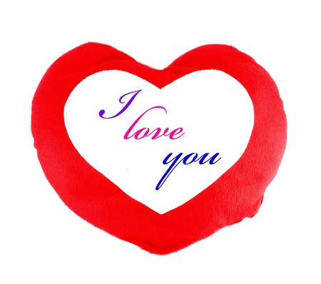 Soft red heart pillow blank for text on white background Stock Photo - 12359341