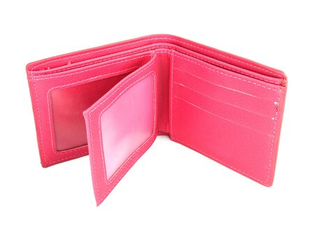 inside of pink purse on white background photo