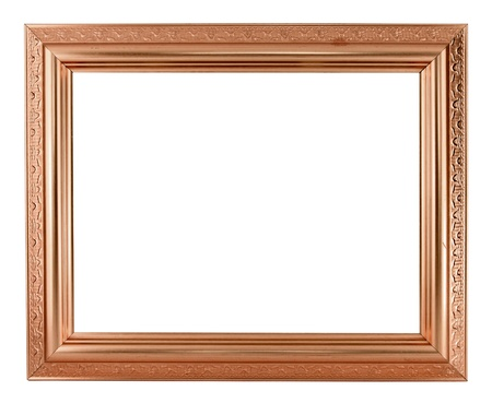 copper picture frame on white background photo