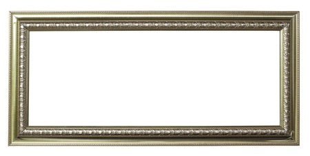 galeria fotografica: marco de plata sobre fondo blanco Foto de archivo