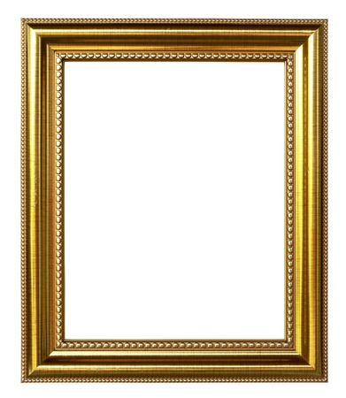 antique frame: golden picture frame on white background Stock Photo