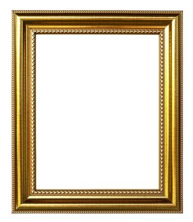 marcos decorados: marco de la imagen de oro sobre fondo blanco Foto de archivo