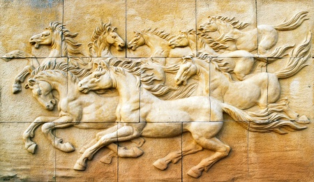 Stone sculpture of horse on wall Stock Photo - 12673922