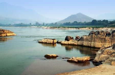 Mekong river at Loas and Thailand borders in the Kaeng Kood Koo of Chiangkhan,Loei,Thailand Archivio Fotografico