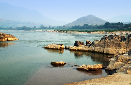 Mekong river at Loas and Thailand borders in the Kaeng Kood Koo of Chiangkhan,Loei,Thailand 免版税图像