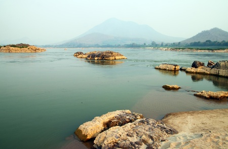 kood: Mekong river at Loas and Thailand borders in the Kaeng Kood Koo of Chiangkhan,Loei,Thailand Stock Photo
