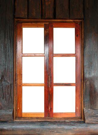 wood windows on wood panel photo