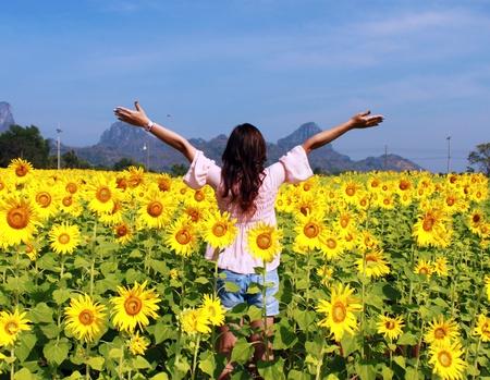 Women in the field of sunflowers photo