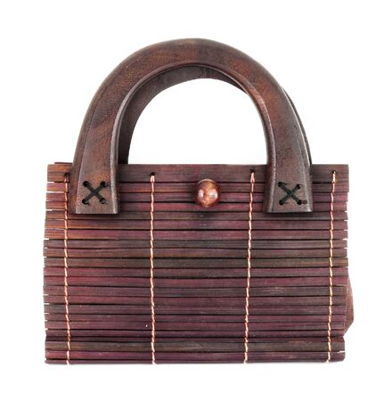 wooden bag on white background photo