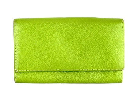 green purse on a white background photo
