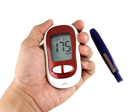 glucometer: Glucometer showing a bad result in the display Stock Photo