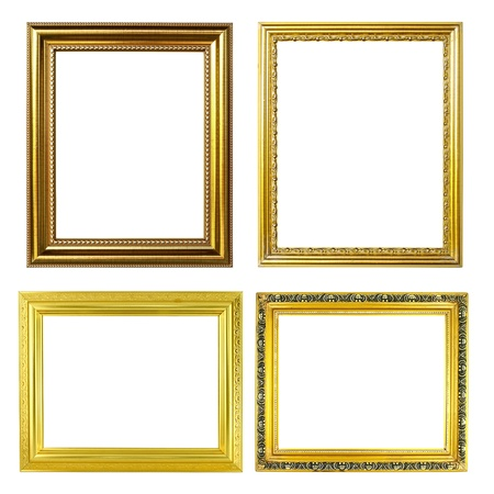 4 golden frame on white background photo