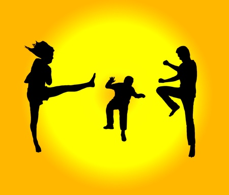 Silhouette of jumping on background photo
