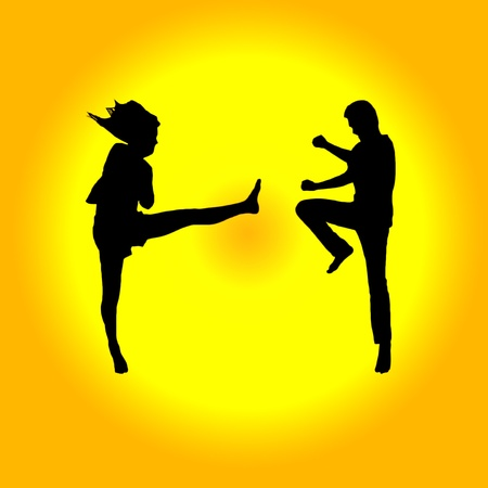 Silhouette of fighting jumping on background photo