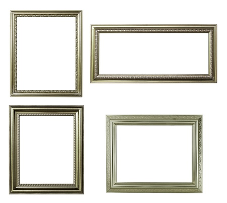 four silver frame on white background 免版税图像
