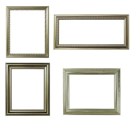 four silver frame on white background Archivio Fotografico
