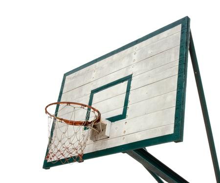 Basketball hoop on white background photo
