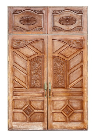 double white door texture. Wooden Door With Ancient Texture On White Background Photo Double