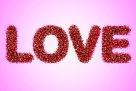 text love with tinsel pattern photo