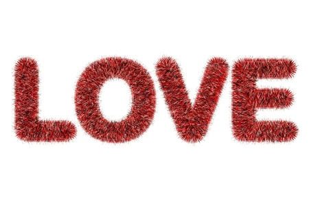 text love with tinsel pattern on white photo