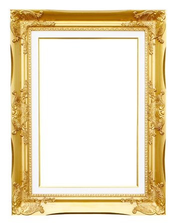 golden frame picture on white background photo