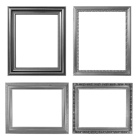 marcos decorados: 4 marco de plata sobre fondo blanco