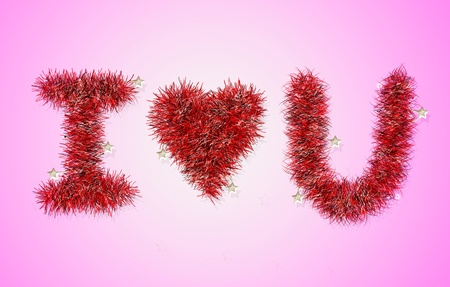 i love u: I love U avec motif tresse