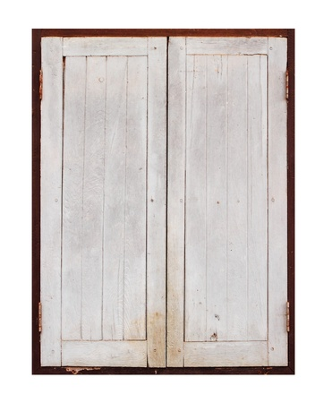 old wooden window on a white blackground photo