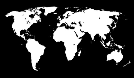 white world map on black background photo