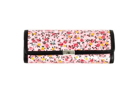 glasses case with flower texture on white background photo