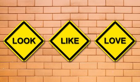 look, like, love sign on  brick wall background Stock Photo - 13675268
